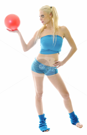 Cute blond girl  stock photo, Young woman exercise fitness isolated on white on blue clothing and with red pilates ball by Benis Arapovic