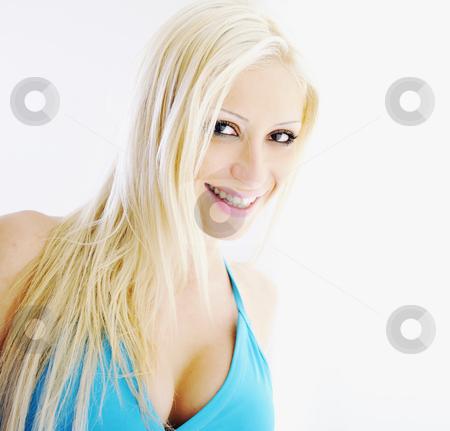 Blonde portrait isolated on white stock photo, Beautiful blonde closeup portrait isolated on white in studio by Benis Arapovic