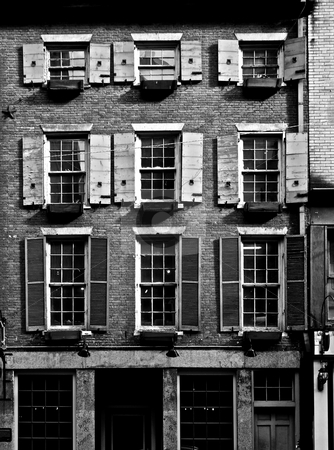 Very old building stock photo, Very old building with ancient shutters in boston massachusetts by Stephen Orsillo