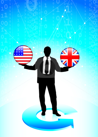 Businessman Holding United States and British  Internet Flag But stock vector clipart, Businessman Holding United States and British  Internet Flag Buttons Original Vector Illustration by L Belomlinsky