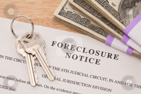 House Keys, Stack of Money and Foreclosure Notice stock photo, House Keys, Stack of Money and Foreclosure Notice - Cash for Keys Program. by Andy Dean