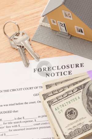 Foreclosure Notice, Home, House Keys and Stack of Money stock photo, Foreclosure Notice, Home, House Keys and Stack of Money - Cash for Keys Program. by Andy Dean