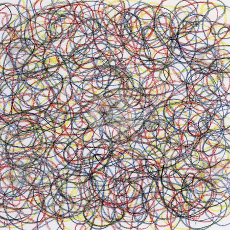 Chaotic crayon scribble stock photo, Hand-drawn crayon circular scribble on white paper, red, blue, black and yellow lines by Marek Uliasz