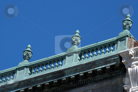 Flat roof decoration stock photo, Detail of carved urns on building roof top in boston massachusetts by Stephen Orsillo