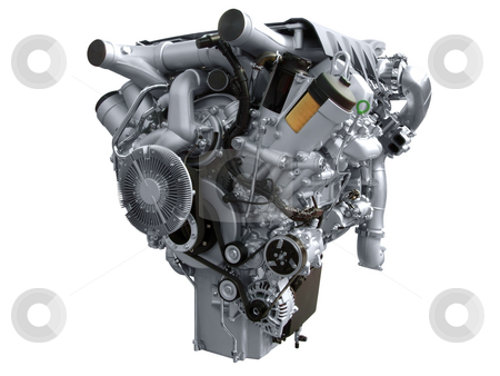 Heavy truck engine stock photo, Heavy truck engine isolated by Goce Risteski