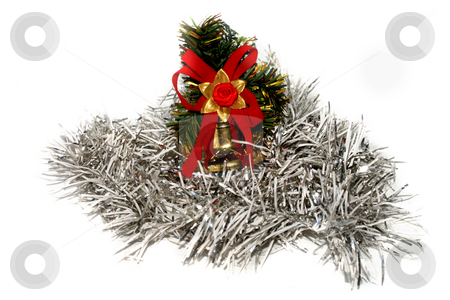 Christmas decoration in white tinsel stock photo,  by Sergey Skryl