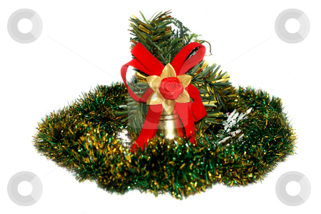 Christmas decoration in green tinsel. stock photo, Isolated object on a white background. by Sergey Skryl