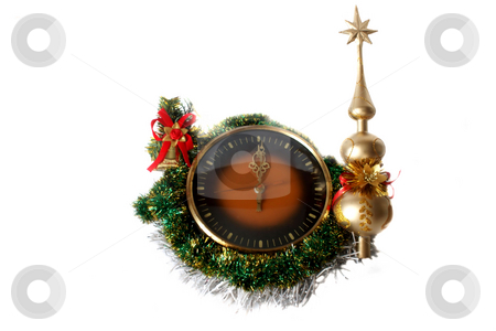 Hours and New Year's decorations stock photo, Isolated object on a white background. by Sergey Skryl