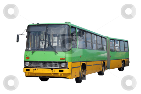 Green bus stock photo, Green knuckle bus isolated over white background by Jan Remisiewicz
