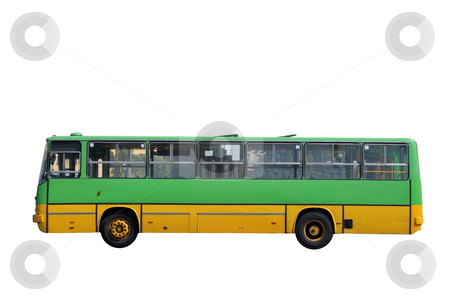 Green bus stock photo, Green bus isolated over white background by Jan Remisiewicz