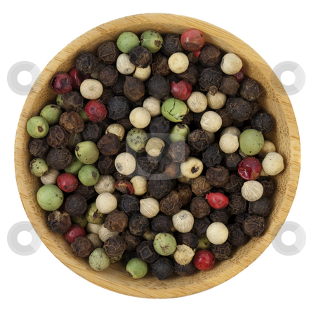 Bowl of colorful rainbow peppercorns stock photo, Mix of four premium peppers - Tellicherry Black, Madagascar Green, Malaysian White and East Indian Pink on a small  wooden bowl, isolated on white by Marek Uliasz