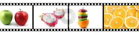 Film strip with fruit collection stock photo, Film strip with fruit collection showing healthy lifestyle by Gunnar Pippel
