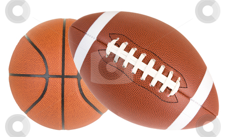 Football and Basketball Isolated stock photo, Close-up of a basketball and a football by Denis Pepin