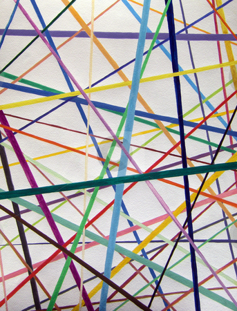 Color lines variety background watercolor painting stock photo, Straight but colorful lines are placed overlapping each other like pick up sticks all over the place in a variety of directions. Can go along with computer links, paths, connections, world wide web, and other relationships. Makes a great background and accent. by Lee Serenethos