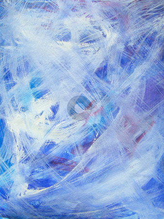 Happy abstract acrylic art painting in blue, white, purple, red stock photo, Blue, white, purple and red are the main colors of this happy, acrylic art painting. Background,  accent. by Lee Serenethos