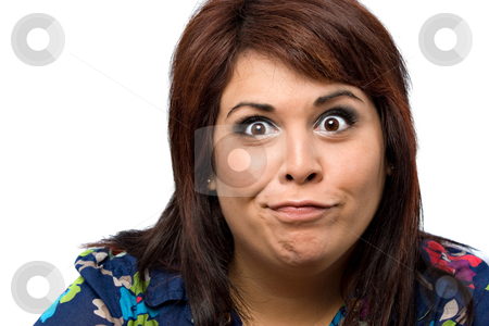 Goofy Girl stock photo, A woman isolated over white with a hilarious look on her face. by Todd Arena