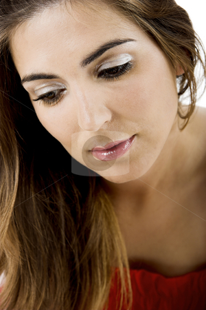 Thinking stock photo, Portrait of a beautiful Young woman thinking in something by ikostudio