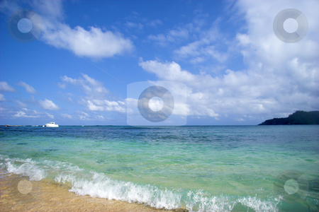 Equator Beach stock photo, Beautiful beach with a great blue sky and turqoise water in Sao Tom? - Equator by ikostudio