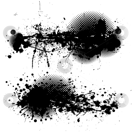 Grunge ink splat pair stock vector clipart, Two black ink splats with halftone dots and white background by Michael Travers