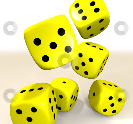Yellow casino dice stock photo, Six yellow casino dice flying through the air by Michael Travers