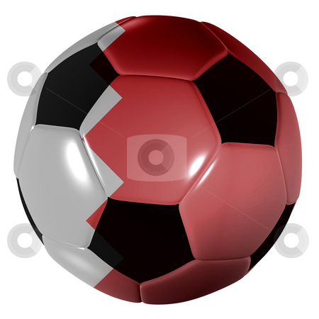 Football bahrain flag stock photo, Traditional black and white soccer ball or football bahrain flag by Michael Travers