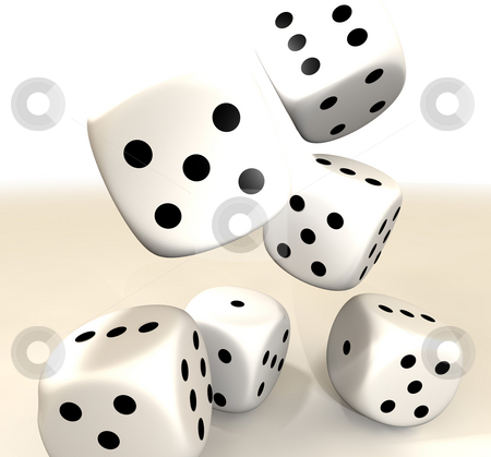 White dice stock photo, Six white casino dice falling on to a white background by Michael Travers