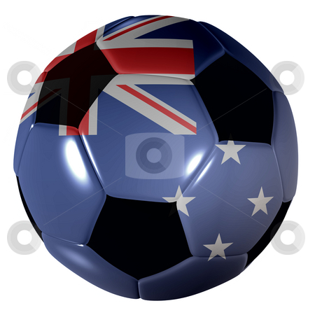 Football new zealand flag stock photo, Traditional black and white soccer ball or football new zealand flag by Michael Travers