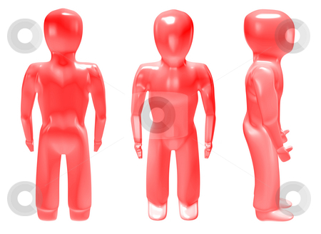 3d man red stock photo, Three dimensional red man in different poses with muscles and light reflection by Michael Travers