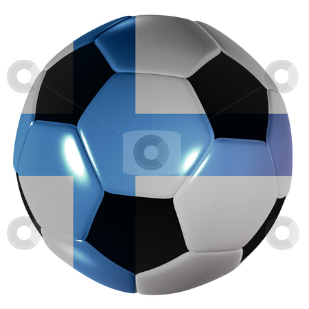 Football Finish stock photo, Traditional black and white soccer ball or football with finish flag by Michael Travers