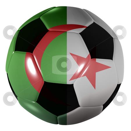 Football algeria flag stock photo, Traditional black and white soccer ball or football algeria flag by Michael Travers