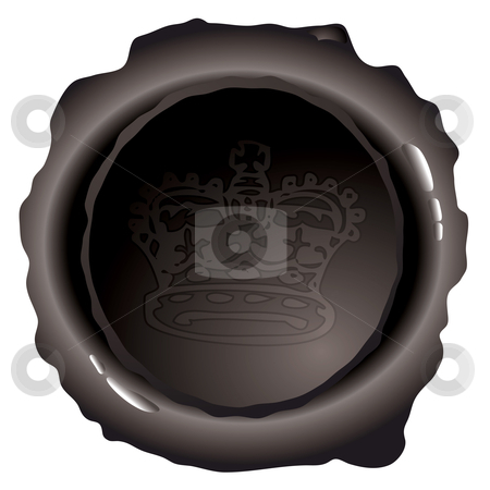 Oval black wax stamp stock vector clipart, Black wax seal with royal crown and light reflection by Michael Travers