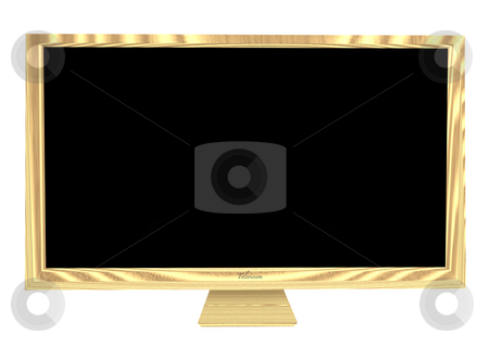 Wooden television stock photo, Brown wooden case on a modern flat screen television and blank area by Michael Travers