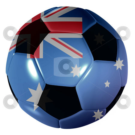 Football australia stock photo, Traditional black and white soccer ball or football australia by Michael Travers