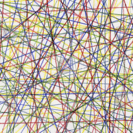 Random color lines background stock photo, Random color lines abstract - pastel crayons on white paper board by Marek Uliasz