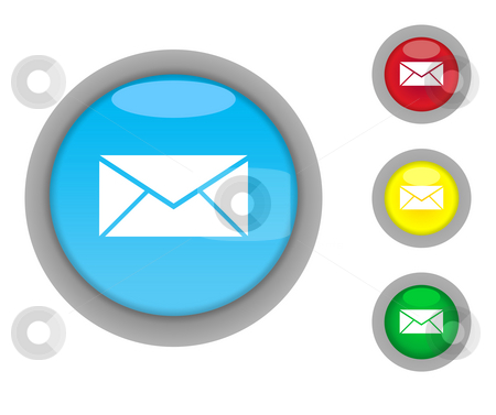Letter or post button icons stock photo, Four colorful glossy letter or email button icons with light effect isolated on white background. by Martin Crowdy