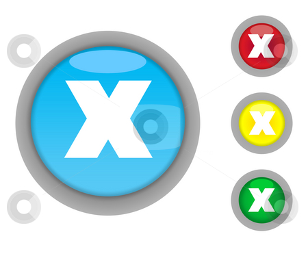 Crossed button icons stock photo, Set of four colorful glossy crossed button icons with light effect isolated on white background. by Martin Crowdy