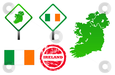 Ireland icons set stock photo, Ireland icons set with map, flag, sign and stamp, isolated on white background. by Martin Crowdy