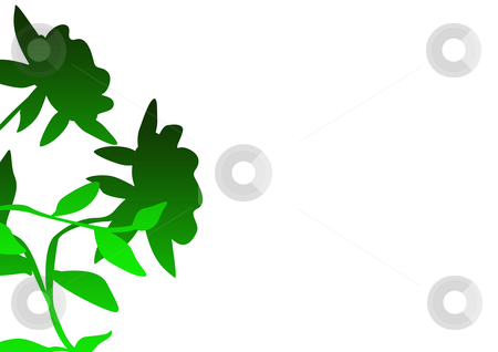 Decorative floral background stock photo, Green flowers on decorative floral background with copy space. by Martin Crowdy