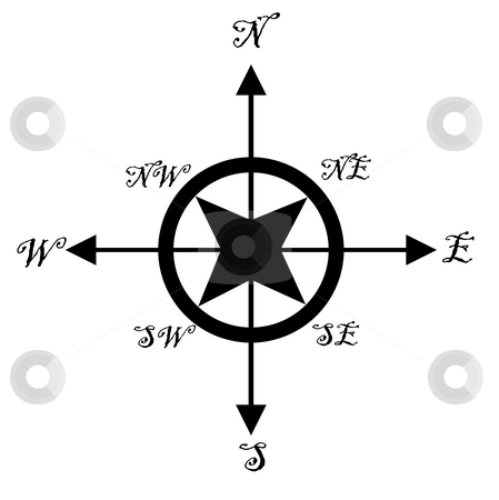 Compass isolated stock photo, Illustration of old fashioned nautical compass, isolated on white background. by Martin Crowdy
