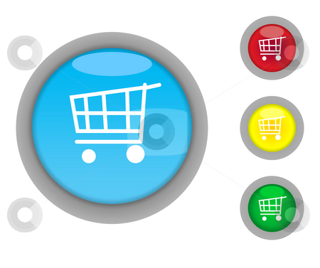 Shopping Cart button icons stock photo, Set of four colorful shopping cart glossy button icons, isolated on white background with copy space by Martin Crowdy