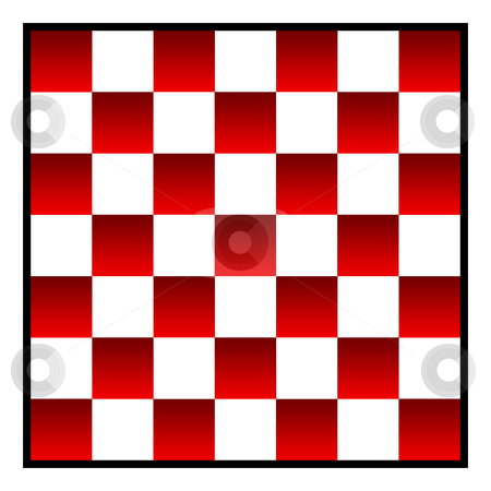 Checkers board stock photo, Re and white patterned checkers of draughts board, isolated on white background. by Martin Crowdy