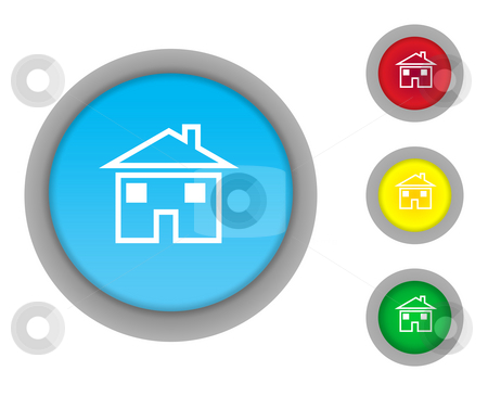 Home button icons stock photo, Set of four colorful glossy home button icons isolated on white background. by Martin Crowdy