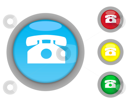 Retro telephone button icons stock photo, Set of four colorful glossy retro telephone button icons with light effect isolated on white background. by Martin Crowdy