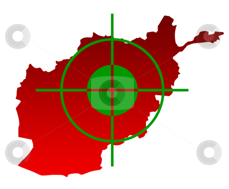 Target over map of Afghanistan stock photo, Gun sight over top of map of Afghanistan isolated on a white background. by Martin Crowdy