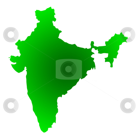 Map of India stock photo, Map of India isolated on a white background. by Martin Crowdy