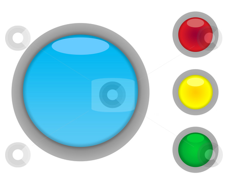 Blank button icons stock photo, Set of four colorful glossy button icons with light effect isolated on white background with copy space by Martin Crowdy