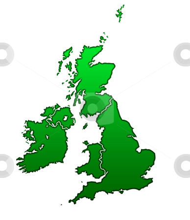 Map of United Kingdom stock photo, Map of United Kingdom isolated on white background. by Martin Crowdy