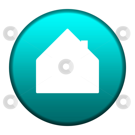 Home button stock photo, Home symbol on glossy turquoise button, isolated on white background with copy space. by Martin Crowdy