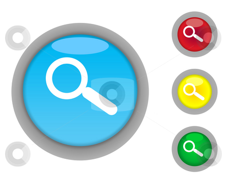 Search button icons stock photo, Set of four colorful glossy search button icons with light effect isolated on white background. by Martin Crowdy