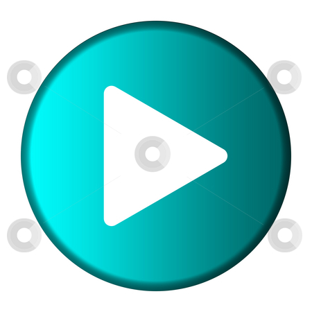 Play button stock photo, Media play button on glossy turquoise button, isolated on white background with copy space. by Martin Crowdy